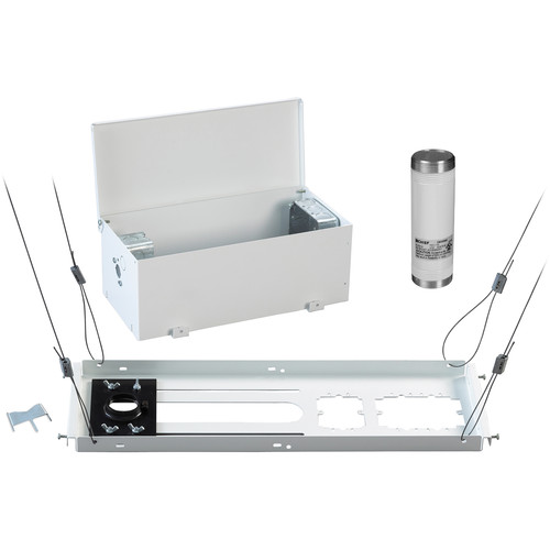 Chief CMS440 Suspended Ceiling Kit with CMS006W Fixed Extension Column & CMA470 Above-Tile Storage Accessory (White)