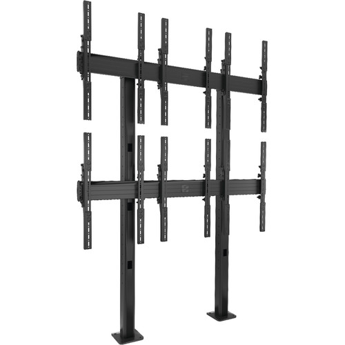 Chief FUSION 3 x 2 Portrait Micro-Adjustable Large Bolt-Down Freestanding Video Wall (Black)