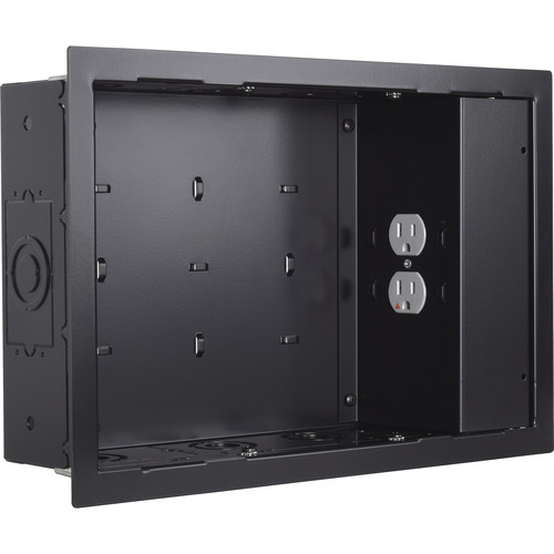 Chief In-Wall Storage Box with 2-Receptacle Filter & Surge Protection (Black)