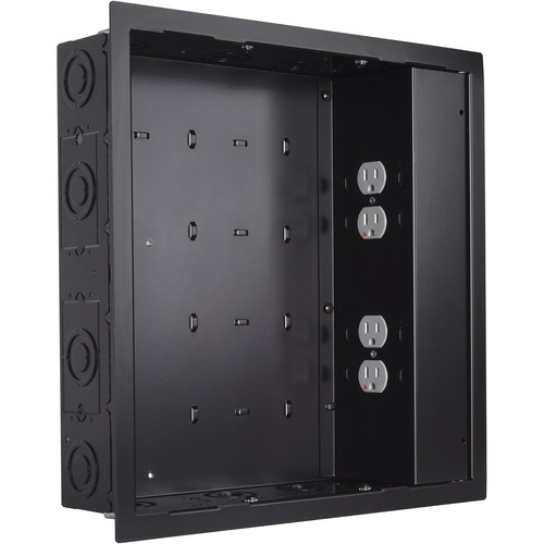 Chief PAC526 In-Wall Storage Box with 4-Receptacle Filter & Surge Protector (Black)