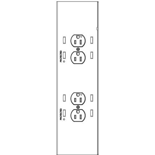 Chief PAC526 4-Plug In-Wall Retro Power Kit