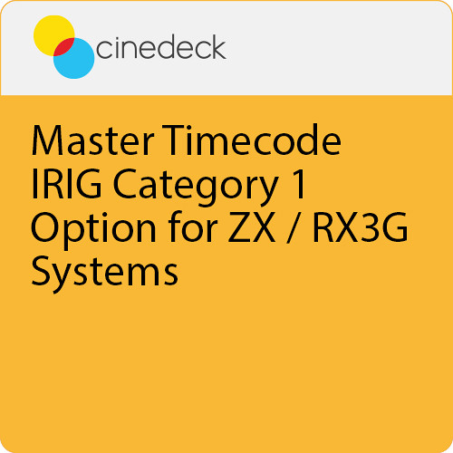 Cinedeck Master Timecode / IRIG Category 1 Option for ZX / RX3G Systems