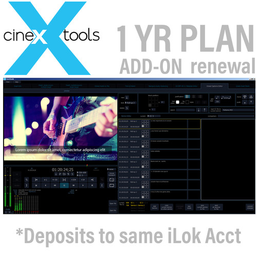 Cinedeck Closed Captions Annual Subscription Renewal for 608 and 708