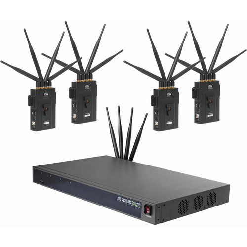 CINEGEARS Four In One 2000M-R Full-Hd Wireless Video Transmission Kit With Rack Mount Receiver And  4 Transmit