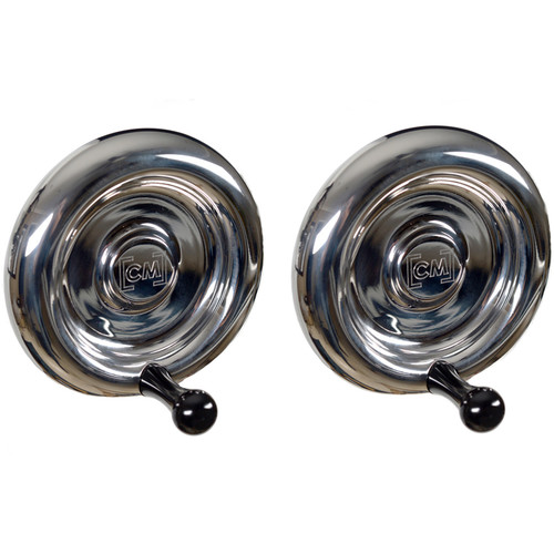 CineMilled Stainless Steel Wheels for Alpha Wheels System (Pair, Black Handles)