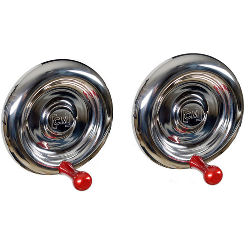 CineMilled Stainless Steel Wheels for Alpha Wheels System (Pair, Red Handles)