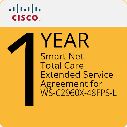 Cisco 1-Year Smart Net Total Care Extended Service Agreement for WS-C2960X-48FPS-L