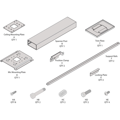 """ClearOne Ceiling Mount Kit with 48"""" Suspension Column for Beamforming Microphone Array (White)"""
