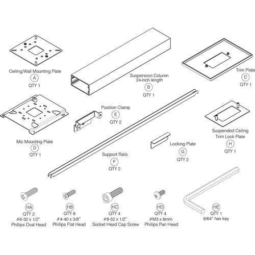 """ClearOne Ceiling Mount Kit with 24"""" Suspension Column for Beamforming Microphone Array 2 (White)"""