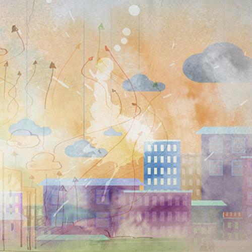 Click Props Backdrops Watercolour City Backdrop (5 x 5')