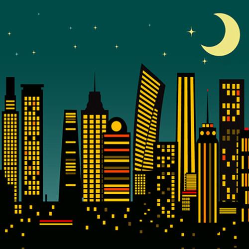 Click Props Backdrops Cartoon City Dusk Backdrop (5 x 5')