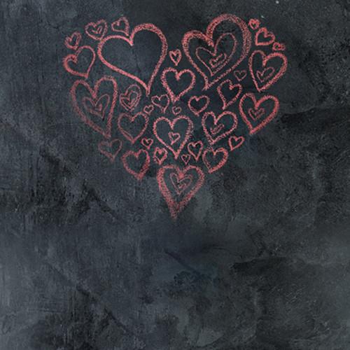 Click Props Backdrops Chalkboard Heart Red Backdrop (5 x 5')