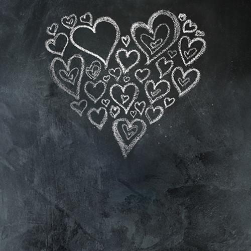 Click Props Backdrops Chalkboard Heart White Backdrop (5 x 5')