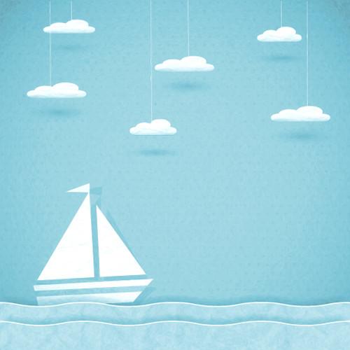 Click Props Backdrops Paper Ship Blue Backdrop (5 x 5')
