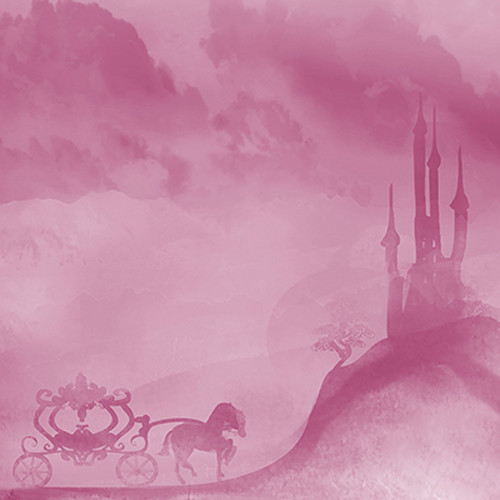Click Props Backdrops Carriage And Castle Pink Backdrop (5 x 5')