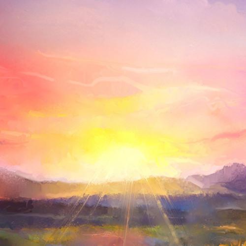 Click Props Backdrops Purple Sunset Backdrop (5 x 5')