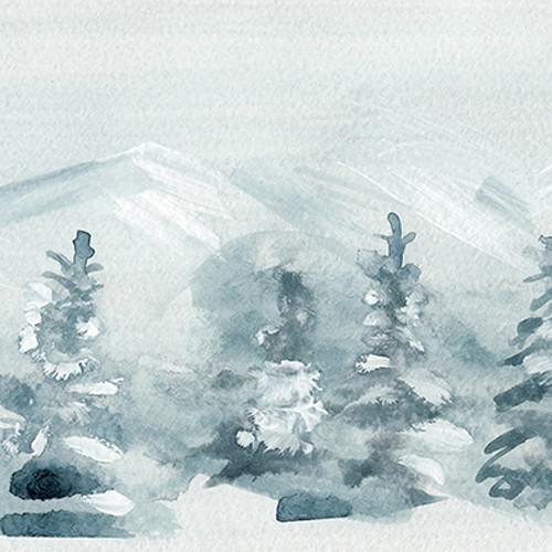Click Props Backdrops Winter Watercolor Backdrop (5 x 5')