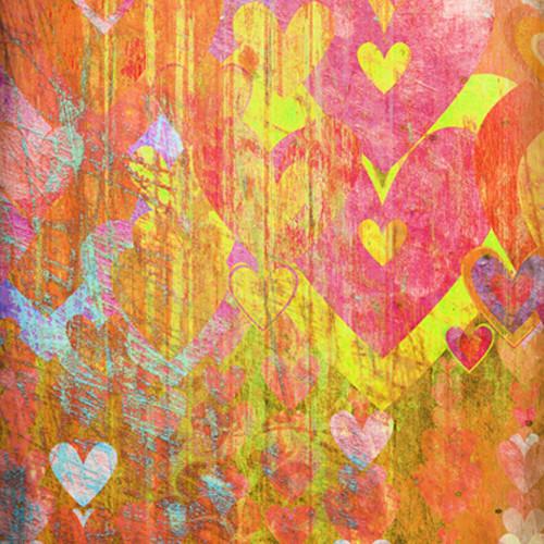 Click Props Backdrops Hearts Yellow Backdrop (5 x 5')