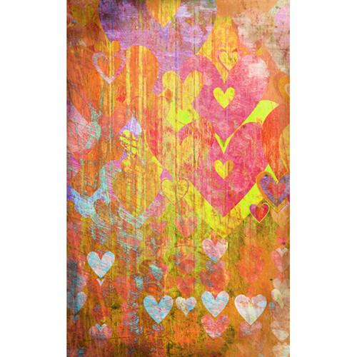 Click Props Backdrops Hearts Yellow Backdrop (5 x 8')
