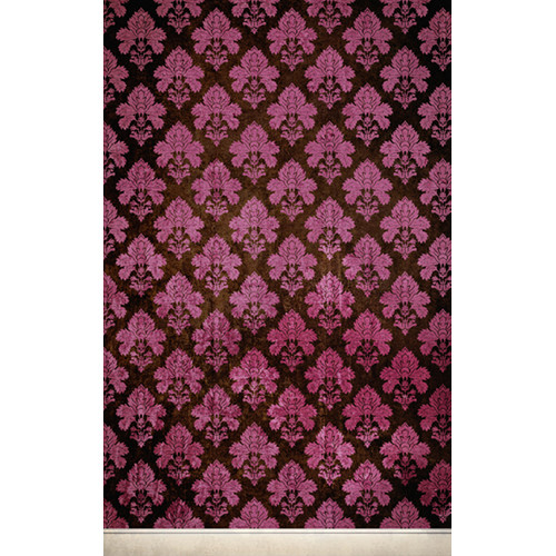 Click Props Backdrops Damask Dark Pink Backdrop (5 x 8')