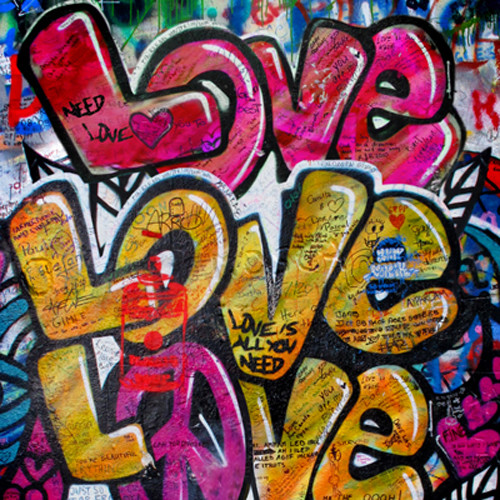 Click Props Backdrops Love Graffiti Backdrop (5 x 5')