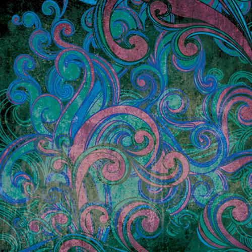 Click Props Backdrops Floral Swirls Blue Backdrop (5 x 5')