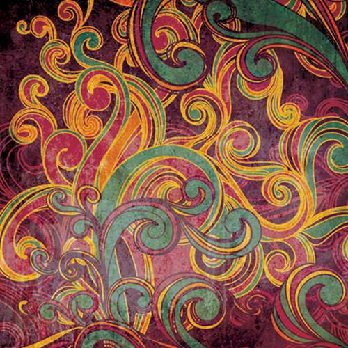Click Props Backdrops Floral Swirls Purple Backdrop (5 x 5')