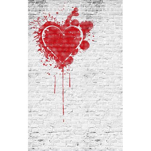 Click Props Backdrops Brick White Heart Backdrop (5 x 8')