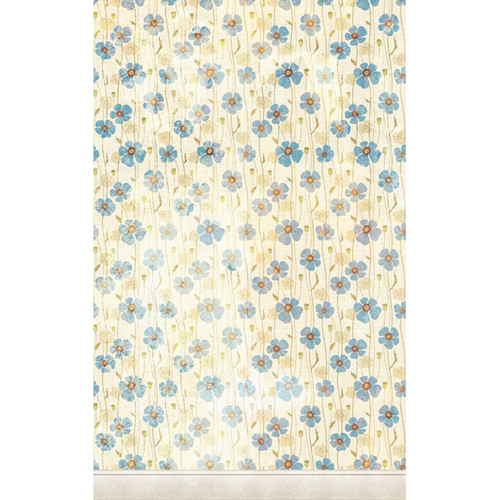 Click Props Backdrops Dirty Blue Poppies Backdrop (5 x 8')