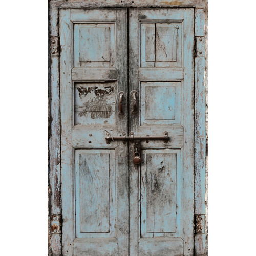 Click Props Backdrops Wooden Door Blue Backdrop (5 x 8')