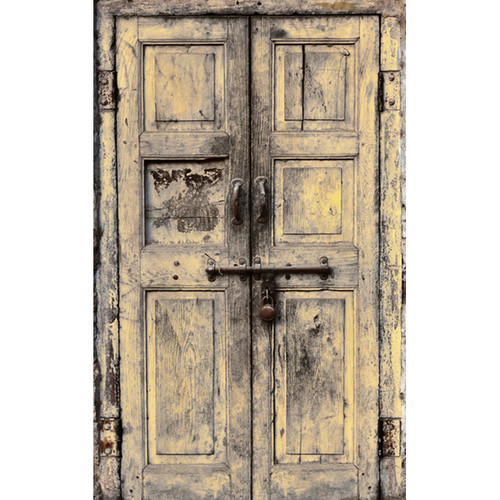 Click Props Backdrops Wooden Door Yellow Backdrop (5 x 8')