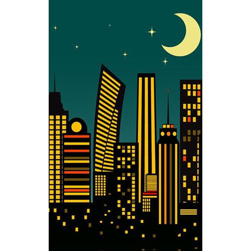 Click Props Backdrops Cartoon City Dusk Backdrop (5 x 8')