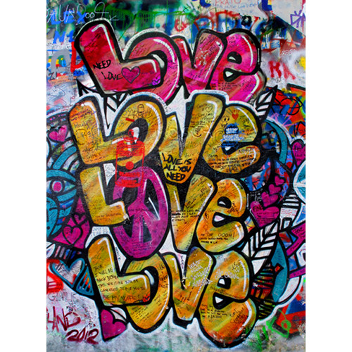 Click Props Backdrops Love Graffiti Backdrop (7 x 9.5')