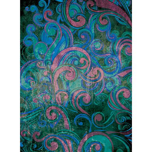Click Props Backdrops Floral Swirls Blue Backdrop (7 x 9.5')