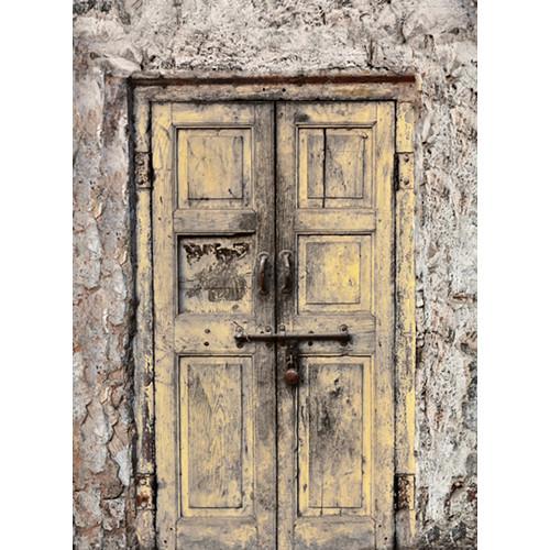 Click Props Backdrops Wooden Door Yellow Backdrop (9.5 x 7')