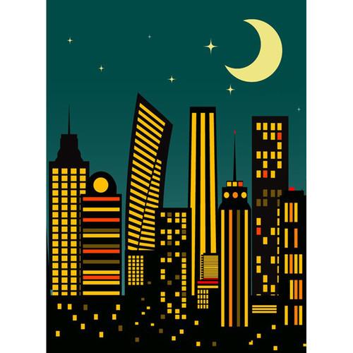 Click Props Backdrops Cartoon City Dusk Backdrop (7 x 9.5')