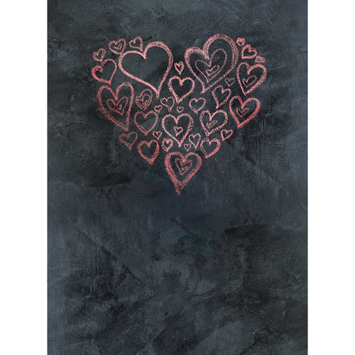 Click Props Backdrops Chalkboard Heart Red Backdrop (7 x 9.5')