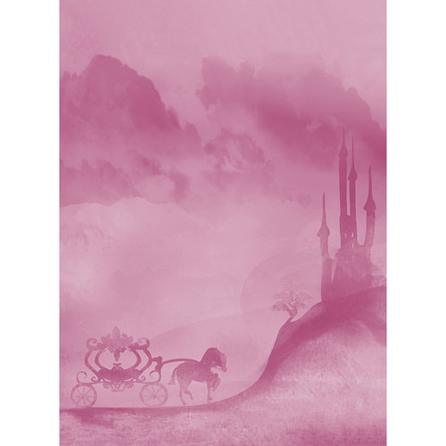 Click Props Backdrops Carriage and Castle Pink Backdrop (7 x 9.5')