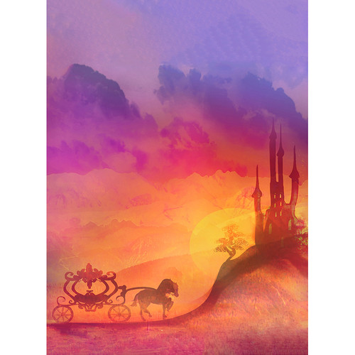 Click Props Backdrops Carriage and Castle Purple Backdrop (9.5 x 7')
