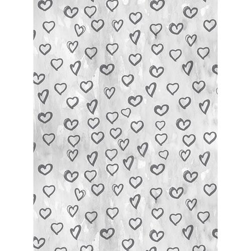 Click Props Backdrops Silver Hearts Backdrop (7 x 9.5')