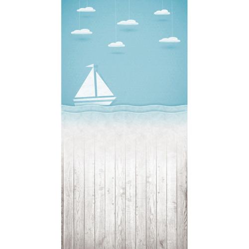 Click Props Backdrops Paper Ship Blue Backdrop (5 x 9.8')