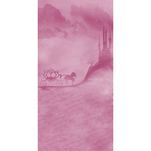 Click Props Backdrops Carriage and Castle Pink Backdrop (5 x 9.8')