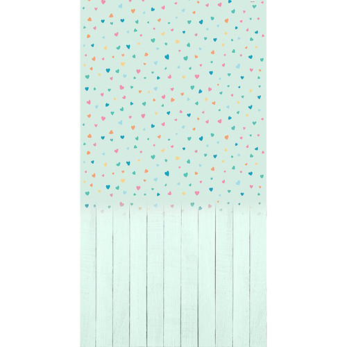 Click Props Backdrops Baby Hearts Mint Backdrop (7 x 13')