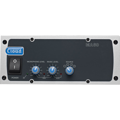 Cloud USA MA60T 2 U Rackmountable Single-Zone Mixer Amplifier