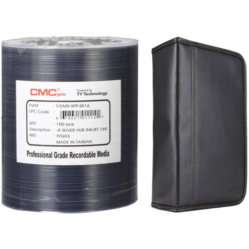 CMC Pro 4.7GB DVD-R 16x Silver Inkjet Hub Printable Disc Kit with 100-Capacity Disc Wallet