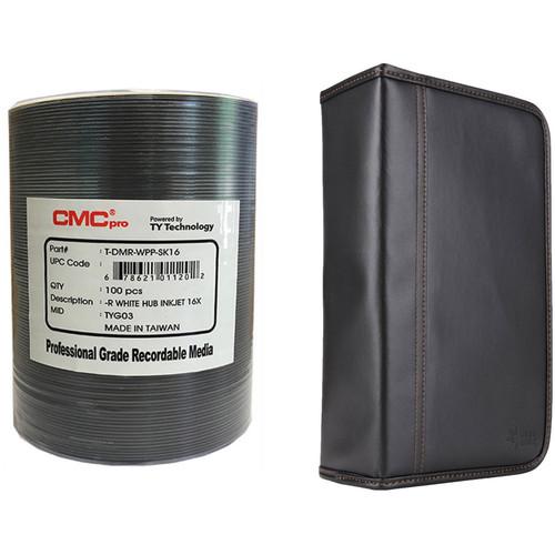 CMC Pro 4.7GB DVD-R 16x White Inkjet Hub Printable Disc Kit with 100-Capacity Disc Wallet