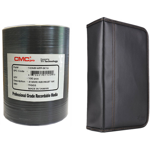CMC Pro 4.7GB DVD-R 16x White Inkjet Hub Printable Disc Kit with 100-Capacity Disc Wallet
