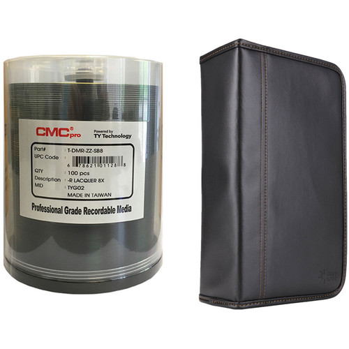 CMC Pro 4.7GB DVD-R 8x Shiny Silver Lacquered Disc Kit with 100-Capacity Disc Wallet