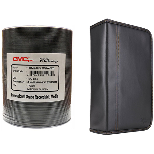 CMC Pro 4.7GB DVD-R 8x White, High-Gloss Inkjet Hub Printable Disc Kit with 100-Capacity Disc Wallet