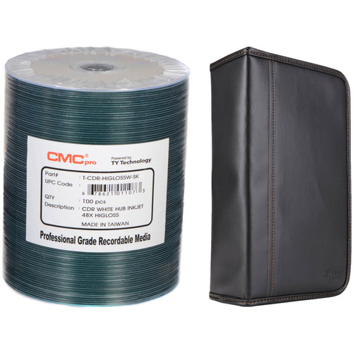 CMC Pro 700MB CD-R 48x HiGLOSS Inkjet Printable Disc Kit with 100-Capacity Disc Wallet